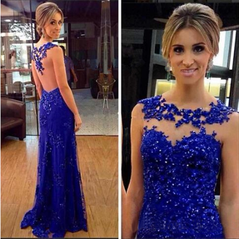 Royal Blue Beaded Applique Backless Formal   Evening     Dresses   Pageant Prom Gown