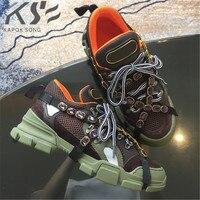 Толстой подошве кроссовок женская обувь на плоской подошве из натуральной кожи роскошные дизайнерские брендовые повседневная обувь новые