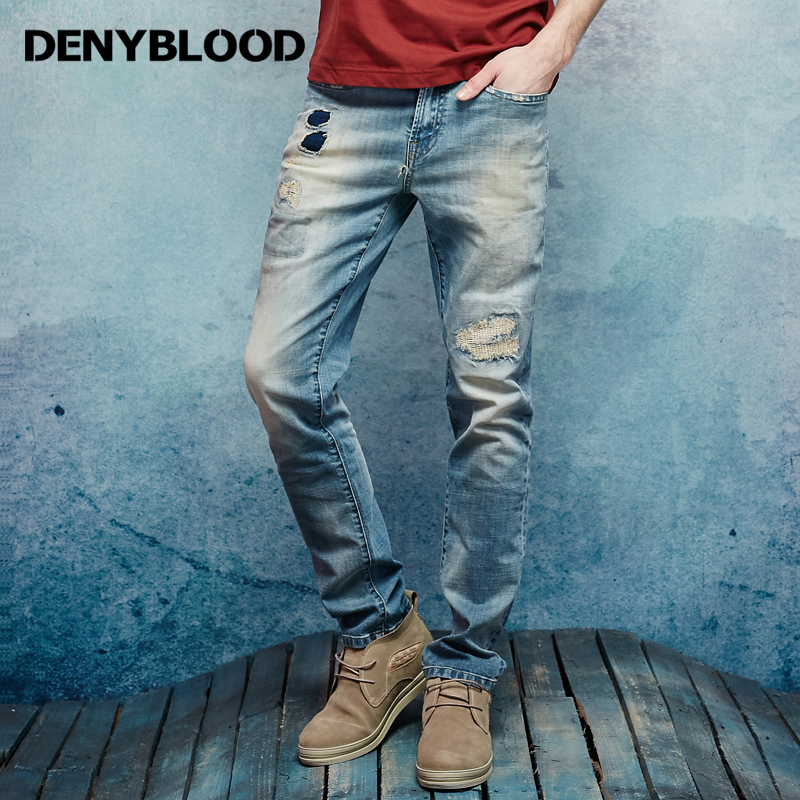 Denyblood Jeans Mens Stretch Cotton Denim Trousers Vintage Washed Distressed Jeans Ripped Patchwork Slim Straight Pants