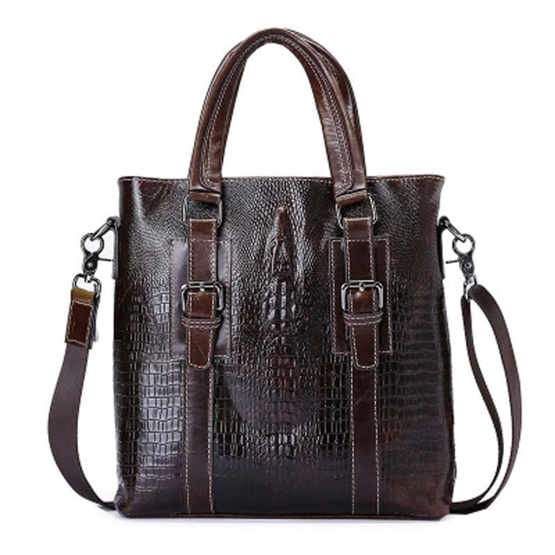 YISHEN Fashion Genuine Leather Men Handbags Business Crocodile Men Briefcase Male Shoulder Crossbody Bags Messenger Bag MLT82255