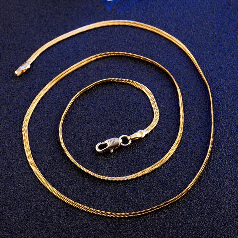 2mm Vàng Flat Rắn Chuỗi Vòng Cổ Cho Phụ Nữ Người Đàn Ông Trang Sức Dây Chuyền & Mặt Dây Charms Trang Sức Choker Colar Kolye Bán Buôn m187