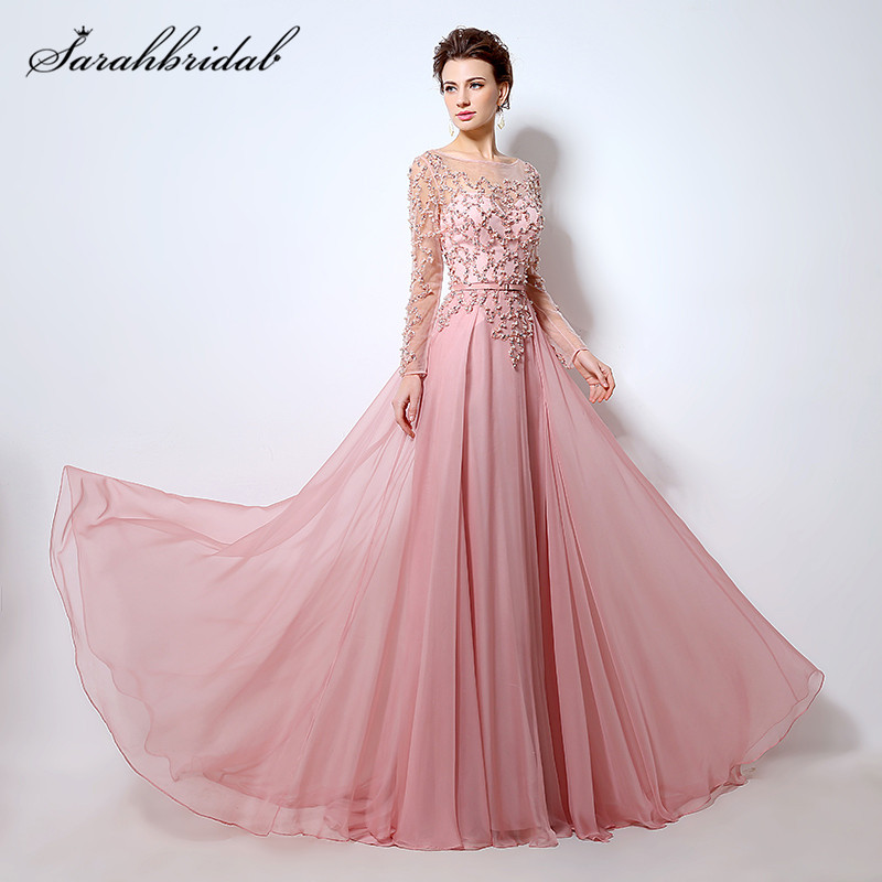 Pink Long Sleeves   Prom     Dresses   A-Line Fashion Sheer Neck Beaded Sequins Floor-Length Evening Gowns Back Zip Cheap in Stock LX051
