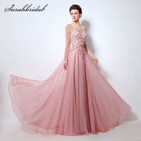 Pink Long Sleeves Prom Dresses A Line Fashion Sheer Neck Beaded Sequins Floor Length Evening Gowns Back Zip Cheap in Stock LX051