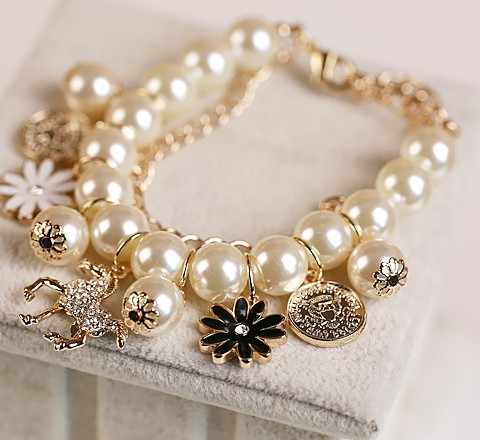 Hot Sell 2015 Woman Bracelet Horse Fine Jewelry Temperament Vintage Charm Flower Pearl Bracelets Chain Heart Bracelet BK-06