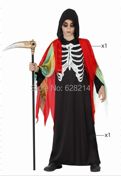 Free shipping- 2016 New Fashion Party Clothing Style Halloween Cosplay Costume for Kid Boys Knitted Skeleton Costumes Red Color