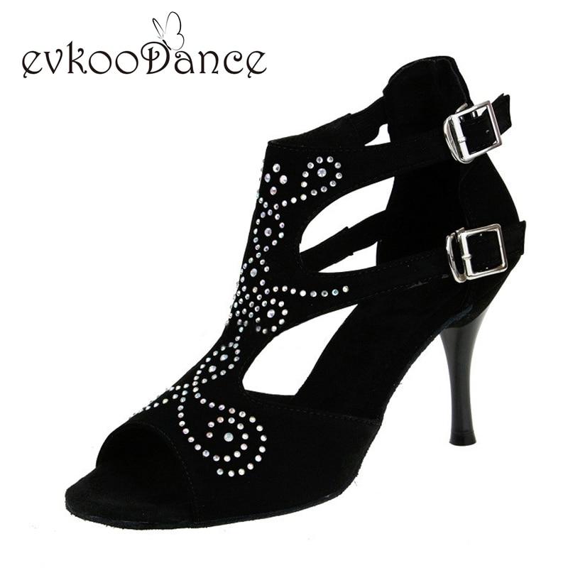 Zwart Met Strass Hak Hoogte 8.5cm Maat US 4-12 Bovenmateriaal Nubuck Latin Dansschoenen Voor dames NL108
