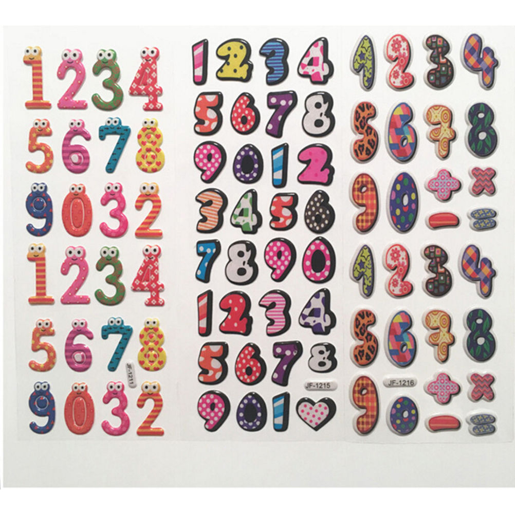 New 3D Cartoon Arabic Numbers stickers character stickers for Children's enlightenment education rewards stickers Random send