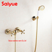 Gold plating Bathroom Bath Faucet Wall Mounted Hand Held Shower Head Kit Shower mixer Sets