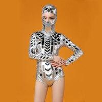 Женская новая серебряная головка с зеркалами комбинезон танцевальная одежда наряд вечерние женщины певец танцор DJ представление сексуаль