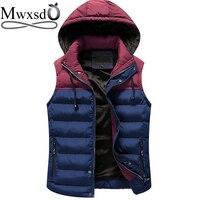 Mwxsdブランド冬男性フード付きのベスト暖かい厚いノースリーブジャケット綿のチョッキ男