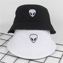 0ab581323e0 2018 black white solid Alien Bucket Hat Unisex Bob Caps Hip Hop Gorros Men  women Summer Panama Cap Beach Sun Fishing boonie Hat