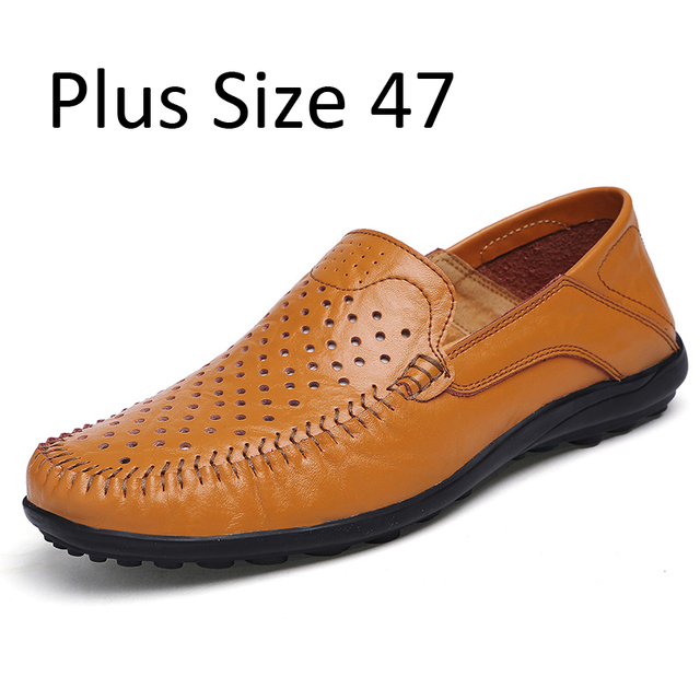 Summer fashion Hollow Out Man's Shoes Men Loafers Surface Driving Shoes Breathable Slip Ons Casual Shoes Flat Big Size 38-47