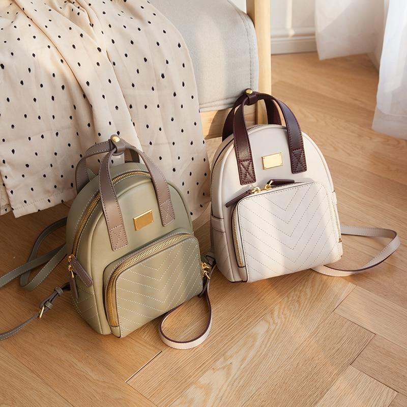 green Wb934 Mode Farbe Handtasche Griff Designer Frauen Echtem Kalbsleder Tasche Rucksack Ivory tan Top Verbergen Kleine Kontrast Woonam a6BCnx