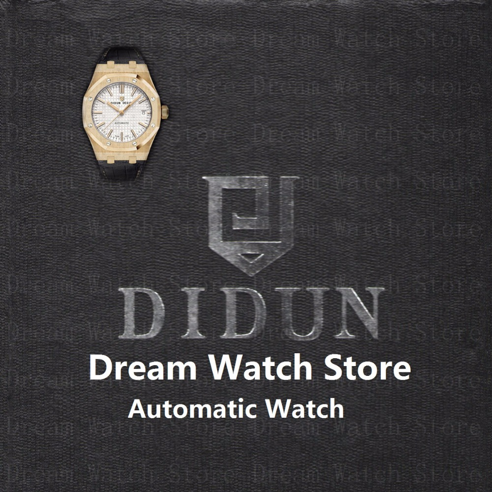 DIDUN Mens Watches Top Brand Luxury Automatic Gold Watch Waterproof Minimalist Wristwatch With Leather Watch StrapFast Free Ship все цены