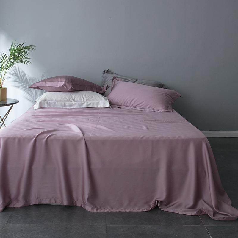 Pink Gray White Tencel Silk Soft Bedding Set Luxury Bed sheet Queen king size Fitted sheet Bed Set Duvet Cover parure de lit