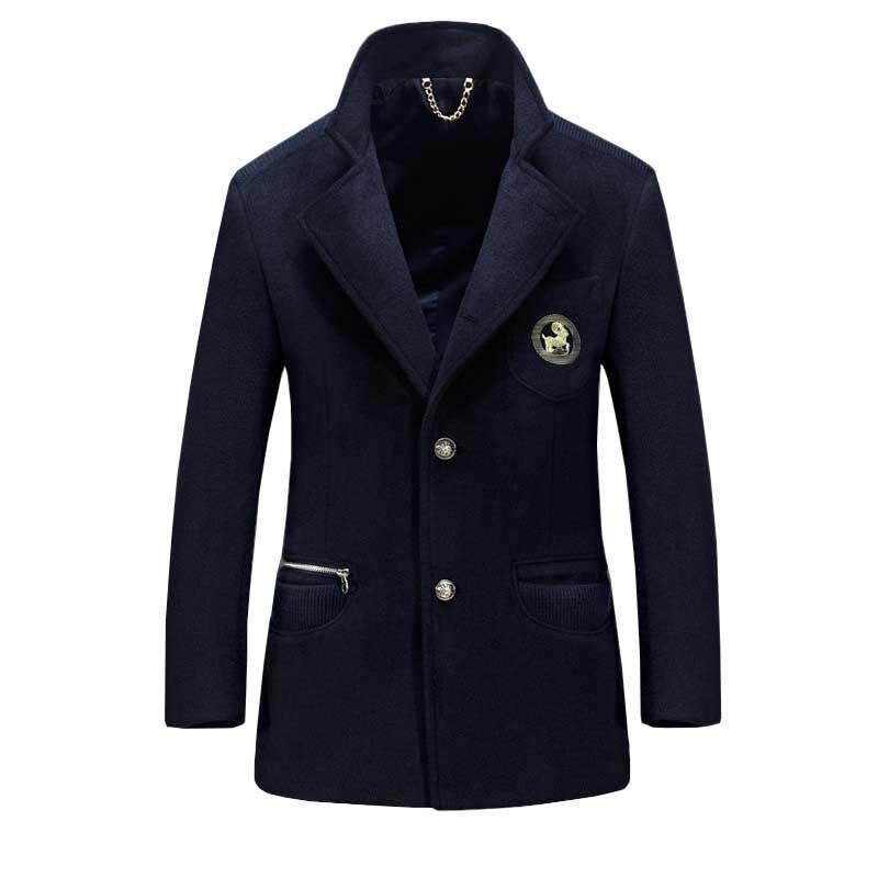 Autumn Winter Thick Warm Wool Trenchcoat Men Smart Casual Blazer Jacket British Retro Cashmere Coat Male Clothes Plus Size M 4XL