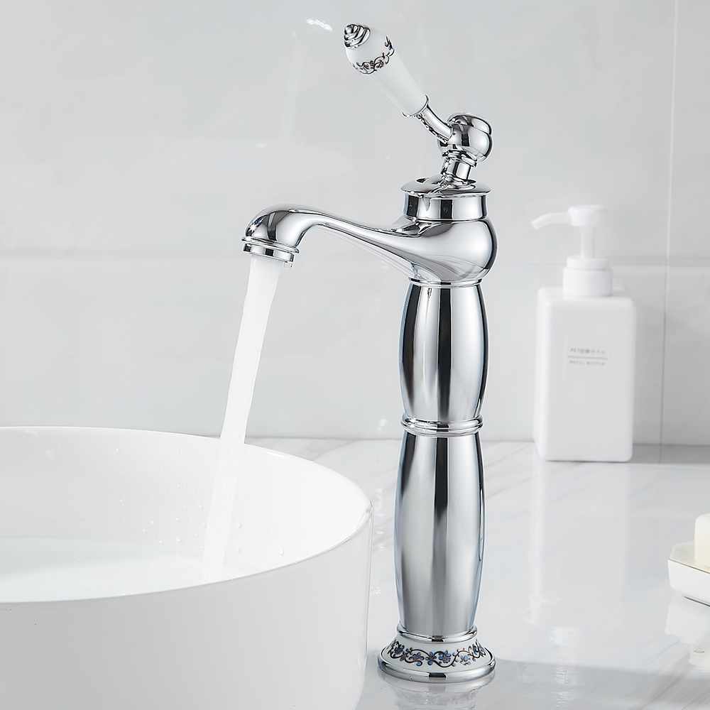 Tall Basin Sink Faucet Single Handle Water Taps Bathroom ...