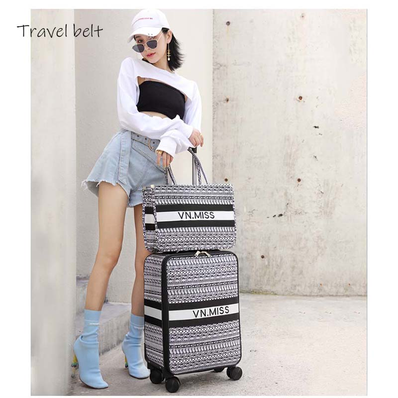 Travel Belt Classic Brand Rolling Luggage And HandbagSpinner Women Retro Canvas Travel Bags Fashion Suitcase Wheels