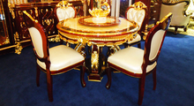 European Style Luxurious Imperial Wood Carved Golden Dining Room Set