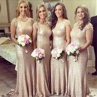 Цвета шампанского, Золотые Длинные свадебные платья Женский Топ расшитый пайетками Длина до пола для свидетельницы на свадьбе платье 2015 вы