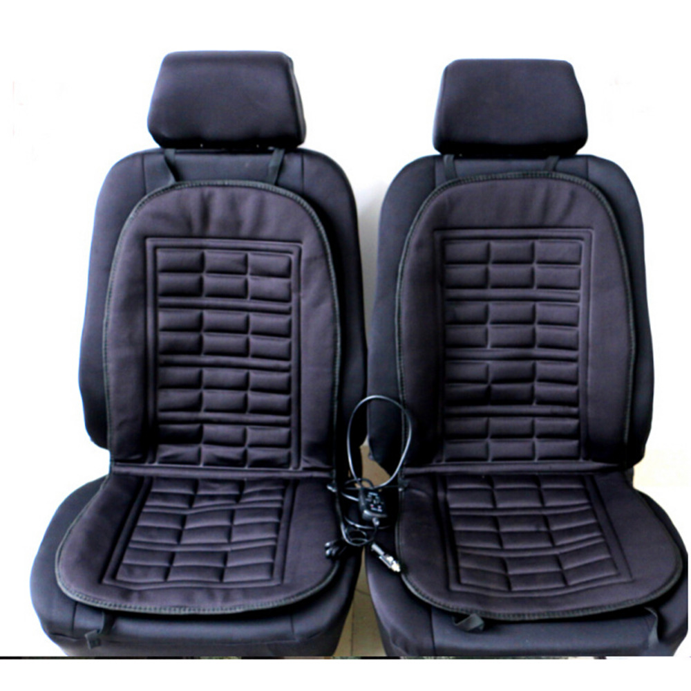 2pcs/Set DC12V 45W Universal Warm-Keeping Winter Car Seat Cushions Heating Thermostat Truck Heated Seat Color Black