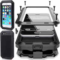 Heavy Duty 360 Full Body Doom Armor Waterproof Metal Case For iPhone 11 Pro Max XR 6 6S 7 8 Plus X 5S SE XS MAX Shockproof Cover