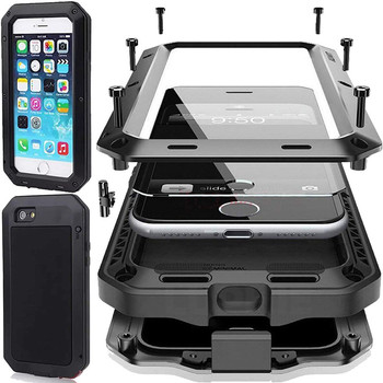 Heavy Duty 360 Full Body Doom Armor Waterproof Metal Case For iPhone 12 11 Pro Max XR 6 6S 7 8Plus 5S SE XS MAX Shockproof Cover