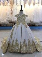 2018 Royal платье с цветочным узором для девочек для свадьбы тюль кружева бисером бальное платье для девочек вечерние платье для причастия Пышн