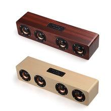 Wooden wireless Bluetooth Speaker TV Soundbar HIFI Shock bass home theater PC sound bar 12W big power TF FM USB Portable Speaker