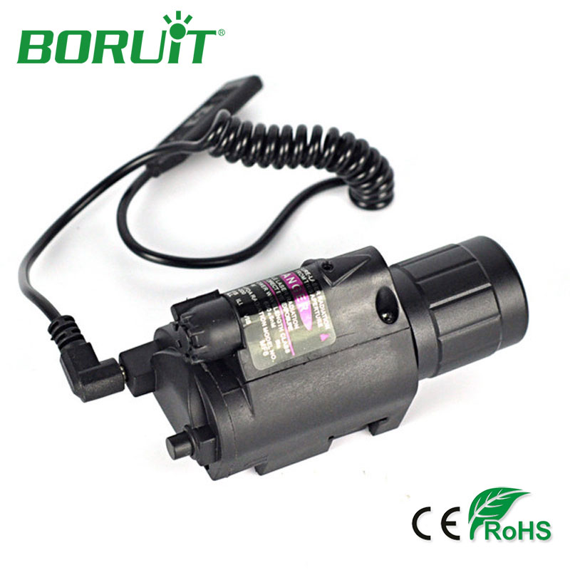 BORUIT Red Laser Sight Hunting Combo 2 in 1 LED Flashlight Tactical Flashlight Aluminum Hunting Flash Light Torch Lamp+Gun Mount high quality 2 in 1 tactical insight red laser cree q5 led 300 lumen flashlight sight combo for pistol gun 2x3v cr123a