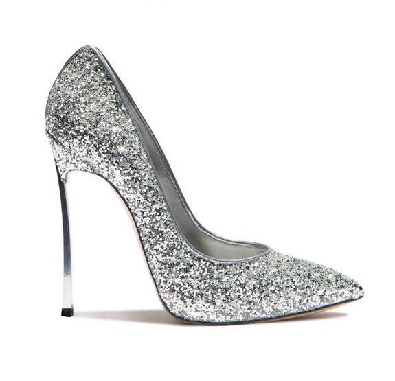 Glitter Pointu Haute Picture Picture Lame As Bout as sur Sequin Robe Métal Femmes Sexy Gullick Pompe Slip Chaussures En Bling Talon qa8wS