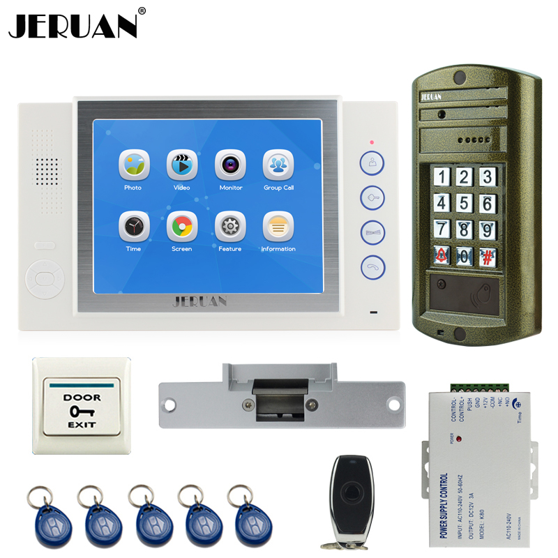 JERUAN NEW Metal Waterproof Access password keypad HD Mini Camera 8 inch TFT LCD Color Video Intercom Door Phone System kit 1V1 jeruan 8 inch tft video door phone record intercom system new rfid waterproof touch key password keypad camera 8g sd card e lock