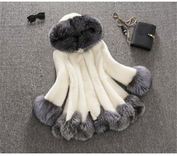 Winter Coat High Imitation Fur Women  Hooded Casual elegance Collar Medium-Long Overcoat