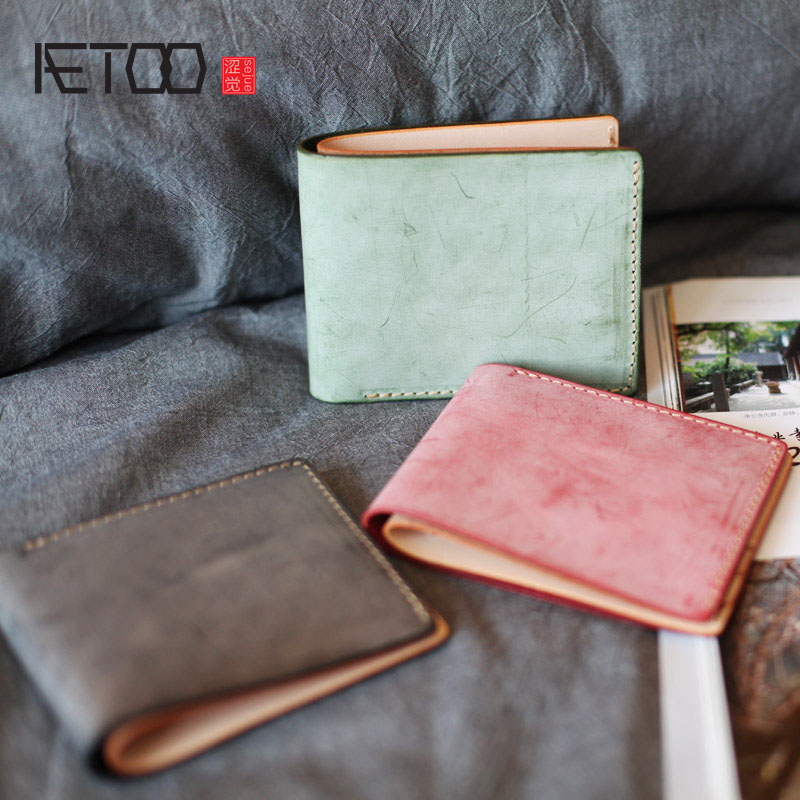 AETOO Retro men and women short section first layer tanned leather handmade wallet two fold inside and outside the Vintage olg yat italian vegetable tanned cowhide handmade long section of hasp art wallet elegant retro handbag fiscal cloth