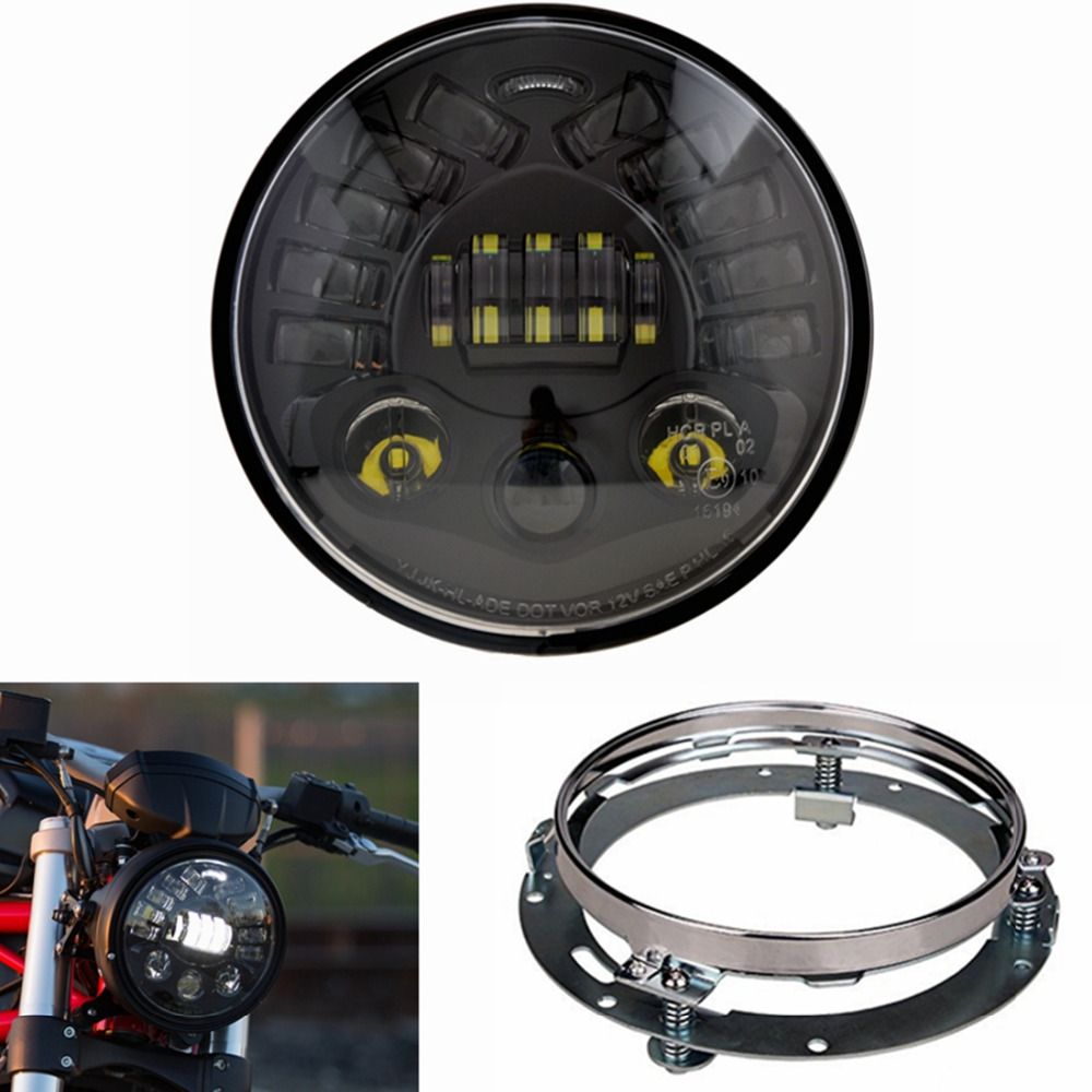 1Set Black 7 inch 50W LED Headlight Kit for Harley Davidson Motorcycle with Parking Light & Turn Signal Lights & DRL