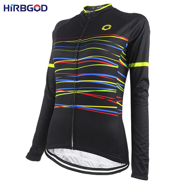 401e5df1e HIRBGOD Stylish Best Womens Long Sleeve Bike Jersey Multicolored Stripe  Outdoor Sport Retro Cycling Jersey Wear Shirt Top-NR219