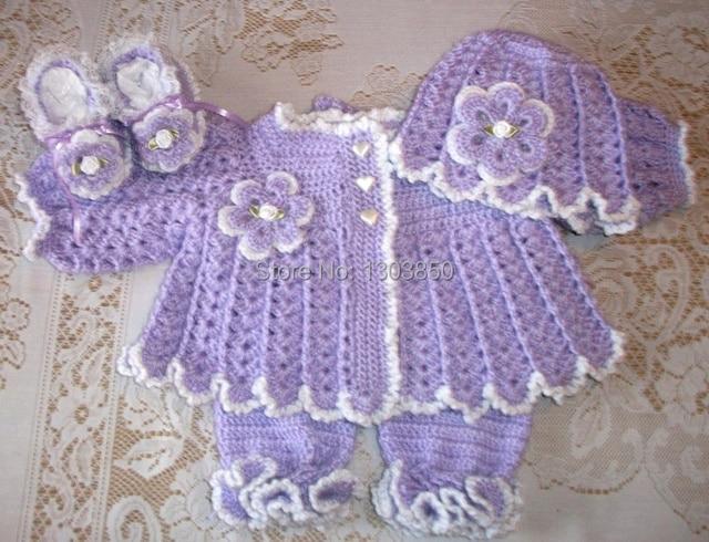 Niña rosada del ganchillo del suéter conjunto canastilla perfecto ...