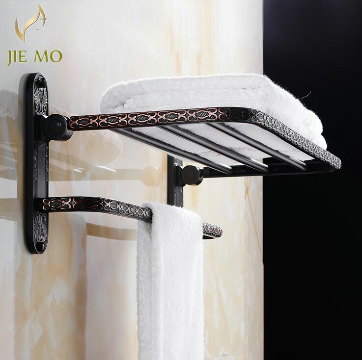 Free Shipping Wall Mount Retro Style Folding Bathroom Towel Rack Black Shelf Hooks 2527 In Racks From Home Improvement On Aliexpress