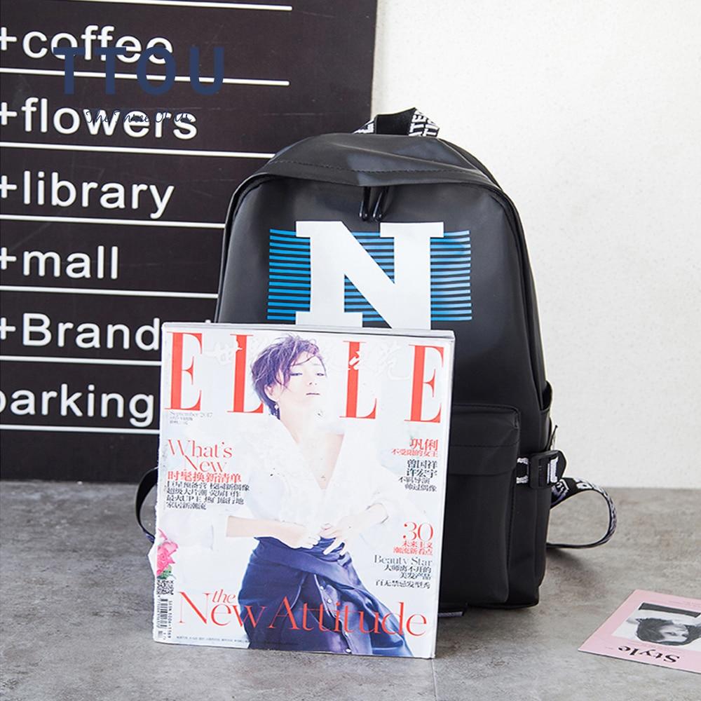 TTOU Women Fashion Canvas Backpack Letter Printing Backpacks Casual Female Travel Backpack Teenager Girls School Bag