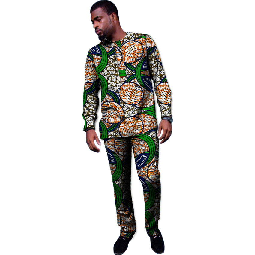 African Clothes Sets New Design Men Tops Trousers Set
