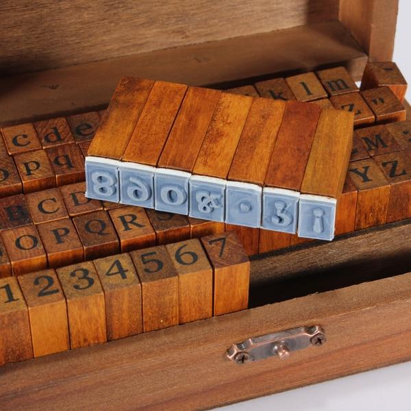 DIY Multi Purpose 70pcs/set Vintage Regular Script Number Lowercase Alphabet Letter Decoration Wood Rubber Stamps Set Wooden Box(China (Mainland))