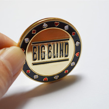 Poker Cards Guard Protector,Metal Token Coin with Plastic Cover Metal Chip Big Blind