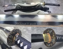 TOP QUALITY 1095 CARBON STEEL+FOLDED+STEEL+IRON CLAY TEMPERED ABRASIVE JAPANESE SAMURAI SWORD KATANA
