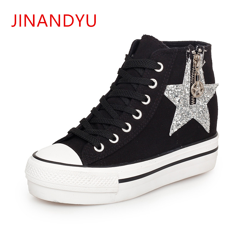 58f3123300d99 Thick Bottoms Women Sneakers Hidden Heel Canvas Platform High Top Wedge  sneakers New Glitter Sequins Lace Up Casual Canvas Shoes