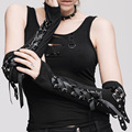 Devil Fashion Unisex Gothic Lace Up Ribbon Fingerless Long Gloves Cool Steampunk Women Men Cotton Arm Gloves Warmers Black Red