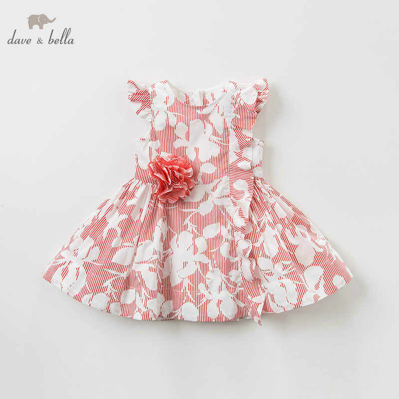 DB10231 dave bella summer baby girl lolita red print clothes children birthday party wedding dress kids boutique dresses