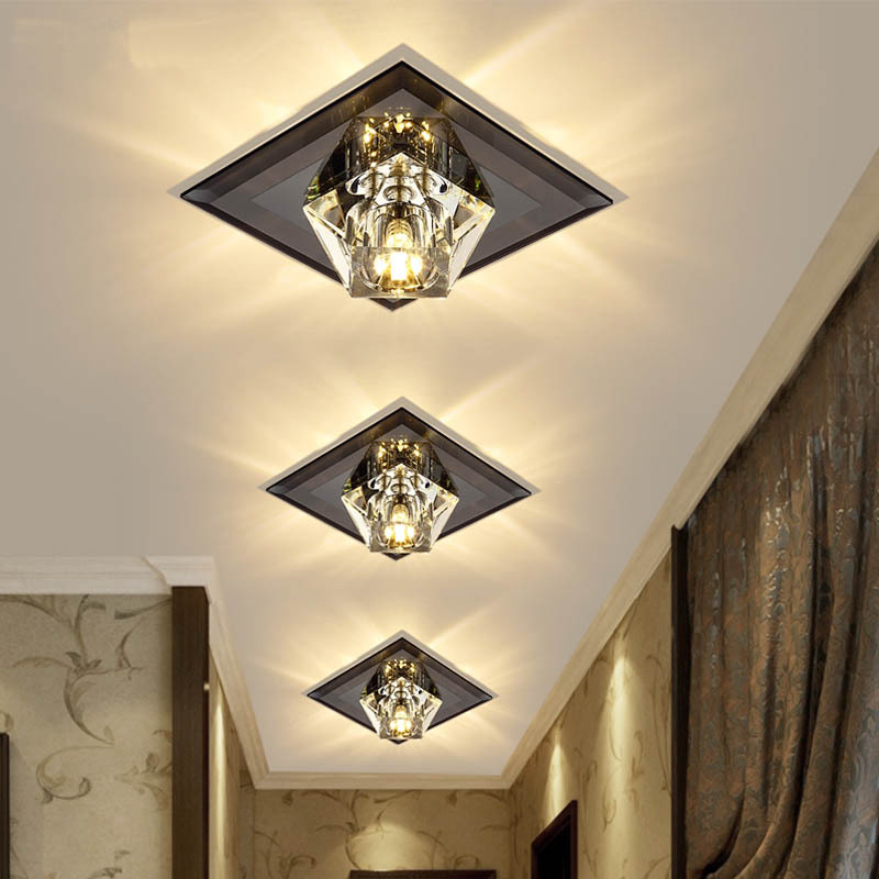 Creative Square LED Ceiling Light Crystal Lamp For Hallway Foyer Corridor Recessed/Ceiling Mounted Mirror Glass Ceiling Lamp
