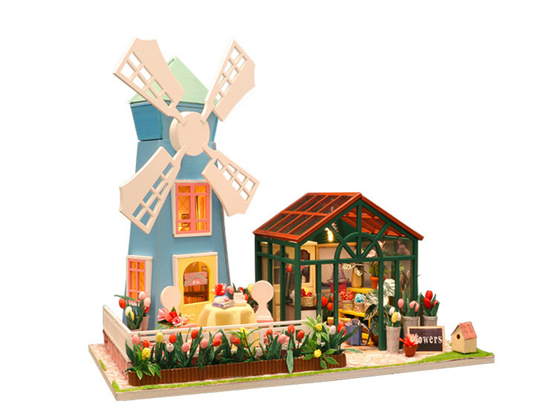 DIY Wooden Miniature Doll House for Children Adult Windmill Flower House with Furnitures Model Building Kits Dollhouse Toys (9)