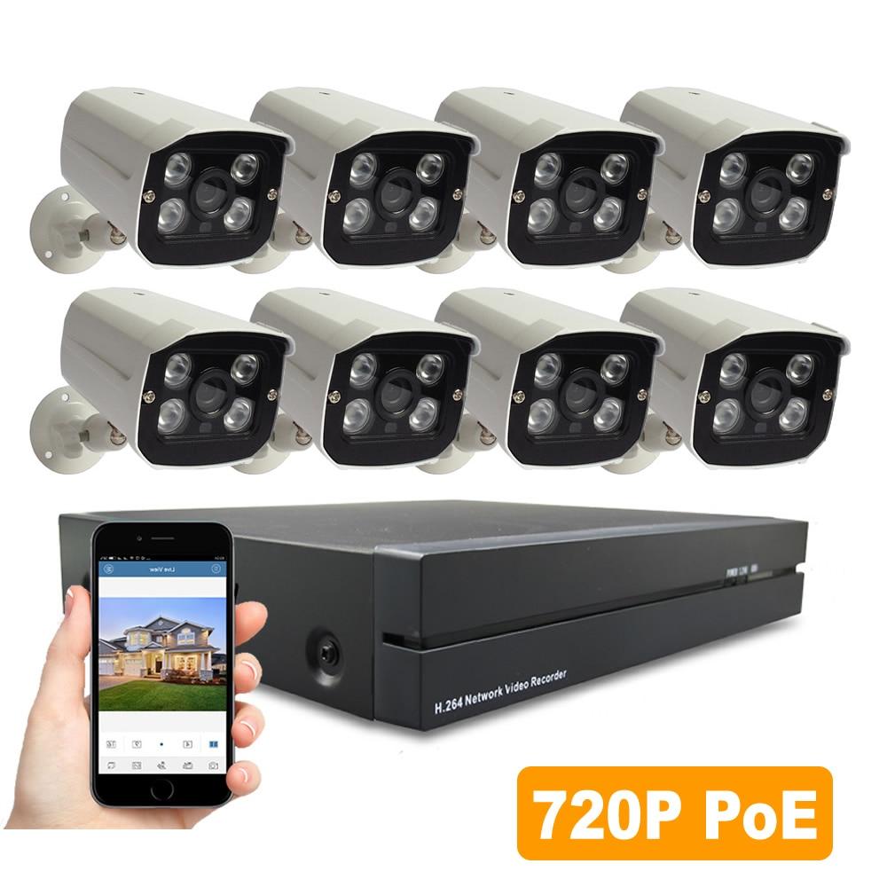 POE Security System 720P 8PCS IP Camera Poe NVR Kit CCTV Surveillance System 1MP Waterproof