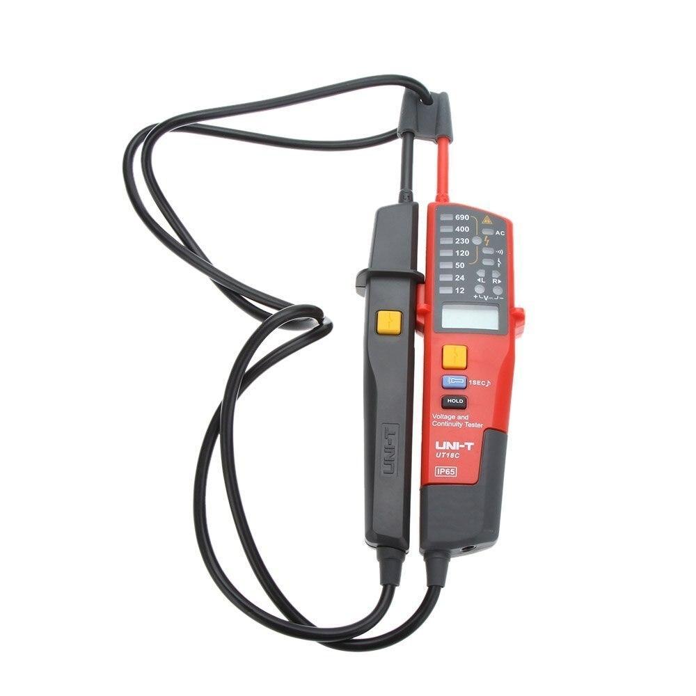 Testeur de continuité de tension numérique Uni T Ut18c voltmètre ca DC gamme automatique détecteur de volts Lcd Led indique le Test Rcd IP65 6 v-690 v
